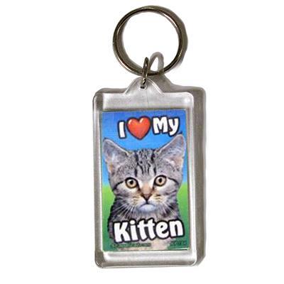 Plastic Keyring Kitten Tabby Dark