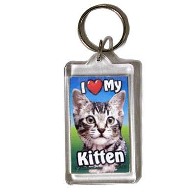 Plastic Keyring Kitten Tabby Light