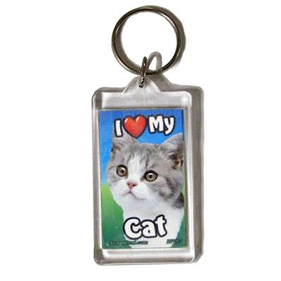 Plastic Keyring Cat Mix Breed