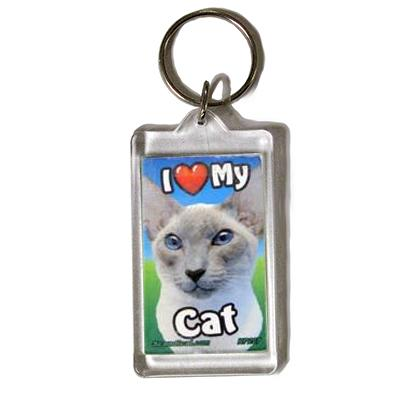 Plastic Keyring Cat Siamese Light