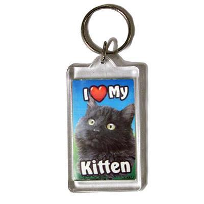Plastic Keyring Kitten Black