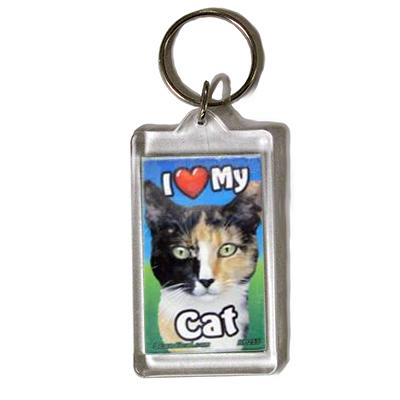 Plastic Keyring Cat Calico