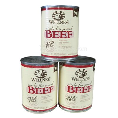 Wellness 95% Beef Recipe Dog Food 13oz Case