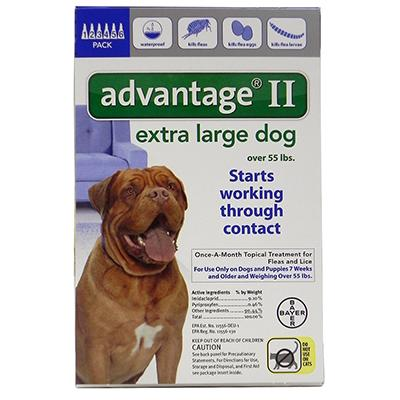 Bayer Advantage II Dog Over 55-Lb. 6 pack Click for larger image