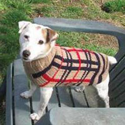 Handmade Dog Sweater Wool Tan Plaid Large Click for larger image