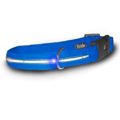 Visiglo Blue LED Illuminated Large Dog Collar 16 to 26 inch