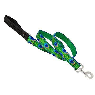 Lupine Nylon Dog Leash 6-foot x 1-inch Tail Feathers