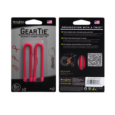 Gear Tie 6 inch Red Reusable Rubber Twist Tie 2pk