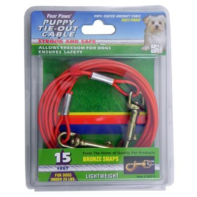 Lightweight Tie-Out Cable for Small Dogs and Puppies 15-ft. Click for larger image