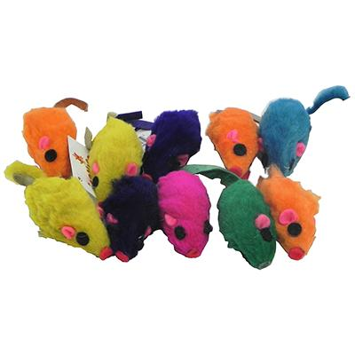 Zanies Rainbow Furry Mice Small Shorthair Cat Toy 10 pack