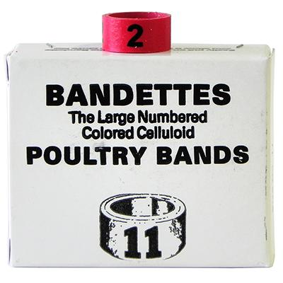 Poultry Numbered Leg Bands Red Size 11 Numbered 1-25 Click for larger image