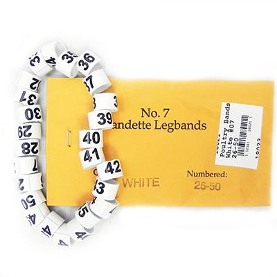 Poultry Numbered Leg Bands White Size 7 Numbered 26-50