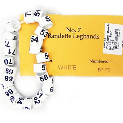 Poultry Numbered Leg Bands White Size 7 Numbered 51-75