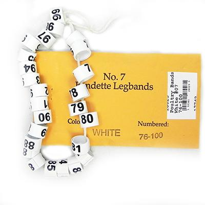 Poultry Numbered Leg Bands White Size 7 Numbered 76-100 Click for larger image