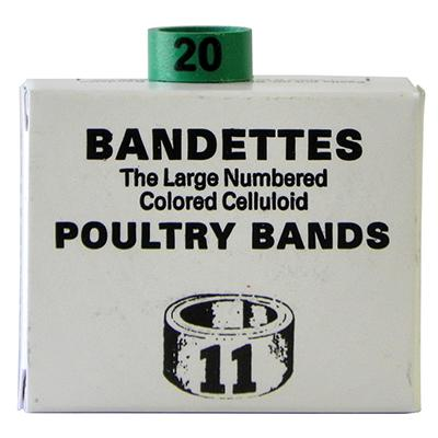 Poultry Numbered Leg Bands Green Size 11 Numbered 1-25 Click for larger image