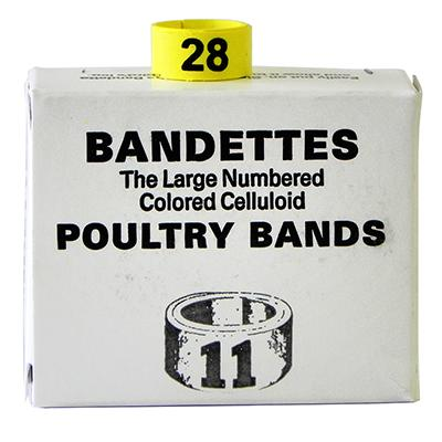 Poultry Numbered Leg Bands Yellow Size 11 Numbered 26-50 Click for larger image