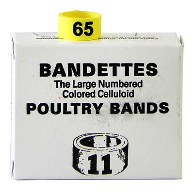 Poultry Numbered Leg Bands Yellow Size 11 Numbered 51-75 Click for larger image