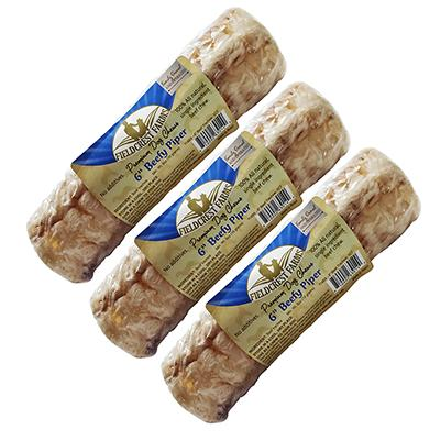 Beefy Piper 6-inch Beef Trachea Natural Dog Chew 3 pack Click for larger image