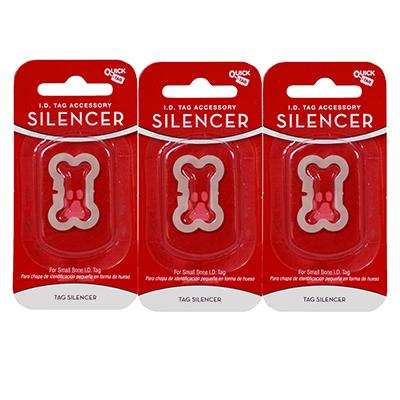 Dog Tag Silencer Small Bone Shape 3 pack Click for larger image