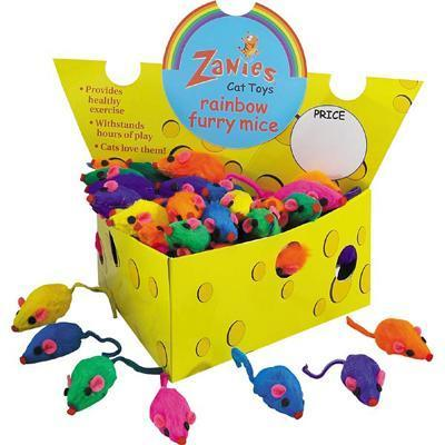 Zanies Rainbow Furry Mice Small Shorthair Cat Toy 24 pack
