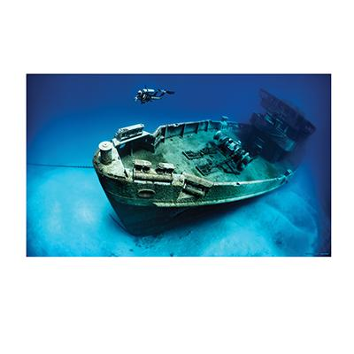 Cling-On Aquarium Background Shipwreck 24 x 16-in.