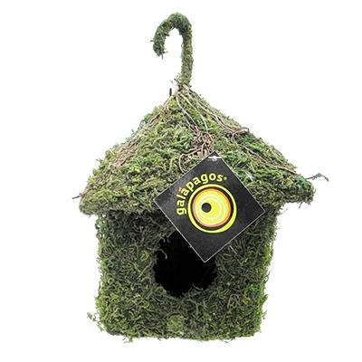 Galapagos Natural Moss and Wicker Birdhouse Shack