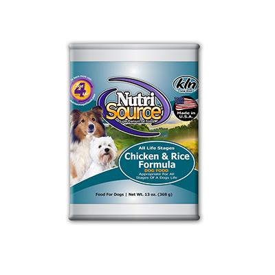 NutriSource Dog Chicken Rice 13oz case