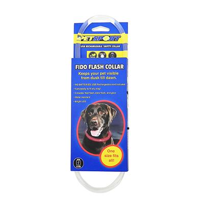 Fido Flash High Visibility Rechargeable LED Dog Collar Click for larger image