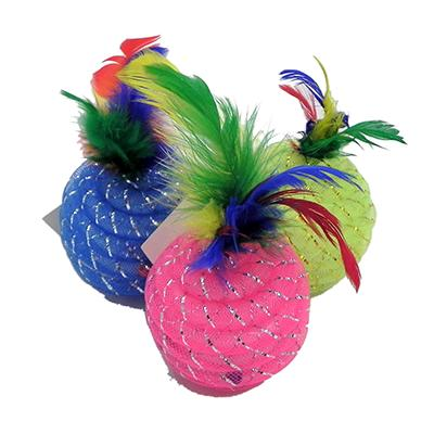 Glitter Rattleball with Feathers Cat Toy 3pk