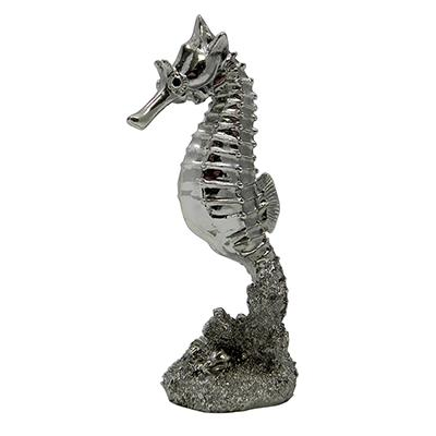 Silver Sea Horse Aquarium Ornament