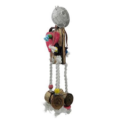 ParroTopia Leathertastic Medium Natural Bird Toy