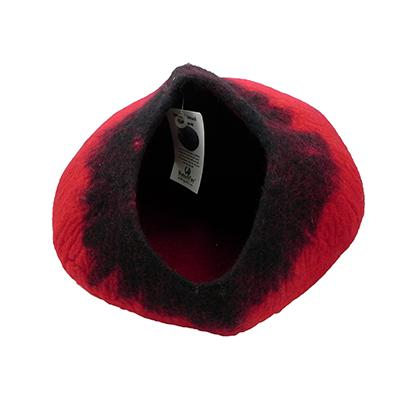 Walking Palm Handmade Wool Cat Cave Red and Black