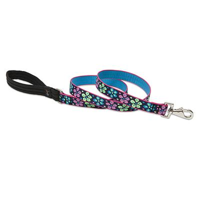 Lupine Nylon Dog Leash 6-foot x 1-inch Flower Power