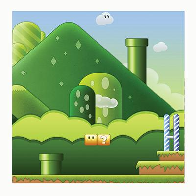 Video Game Aquarium Terrarium Vinyl Background 30x13
