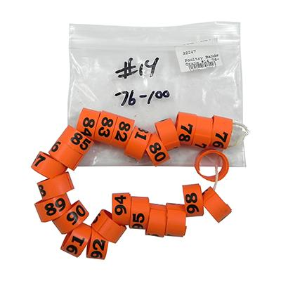 Poultry Numbered Leg Bands Orange Size 14 Numbered 76-100 Click for larger image
