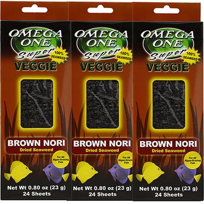 Omega One Super Veggie Brown Seaweed Fish Food 24 ct. 3 pack