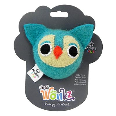 Wooly Wonks Felted Owl Dog Toy med