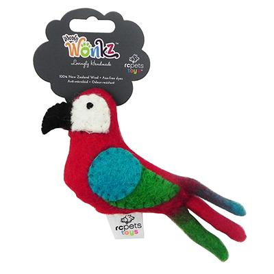 Wooly Wonks Felted Parrot Cat Toy