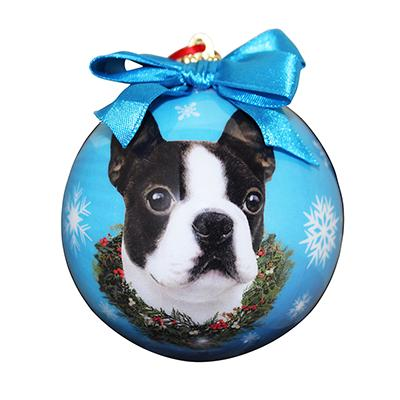 E&S Imports Shatterproof Animal Ornament Boston Terrier