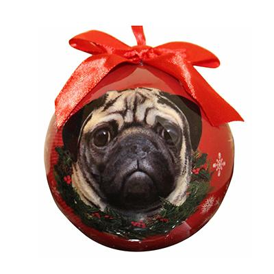 E&S Imports Shatterproof Animal Ornament Pug Click for larger image