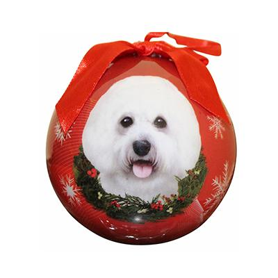 E&S Imports Shatterproff Animal Ornament Bichon Frise Click for larger image
