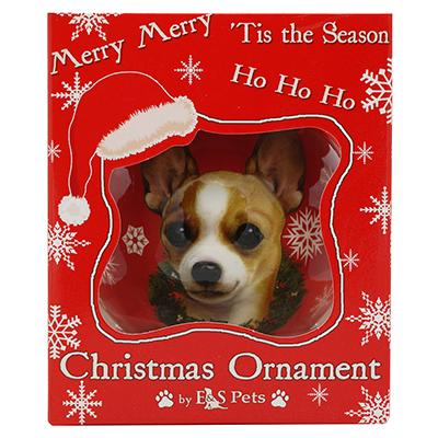 E&S Imports Shatterproof Animal Ornament White/Tan Chi Click for larger image