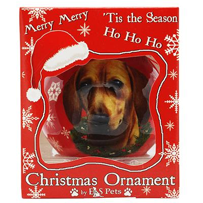 E&S Imports Shatterproof Animal Ornament Dachshund Red Click for larger image