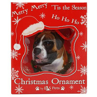E&S Imports Shatterproof Animal Ornament Boxer Uncropped Click for larger image