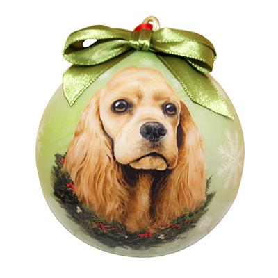 E&S Imports Shatterproof Animal Ornament Cocker Spaniel Buff Click for larger image
