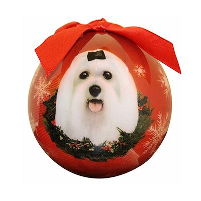 E&S Imports Shatterproof Animal Ornaments Maltese Click for larger image