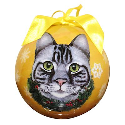 E&S Imports Shatterproof Animal Ornaments Silver Tabby Click for larger image