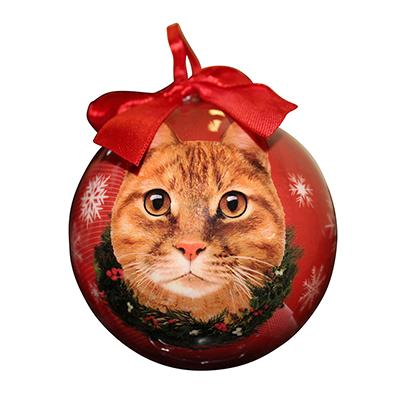 E&S Imports Shatterproof Animal Ornament Orange Cat