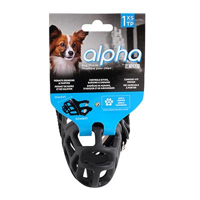 Alpha by Zeus Black Dog Muzzle Size 1 XSmall Click for larger image
