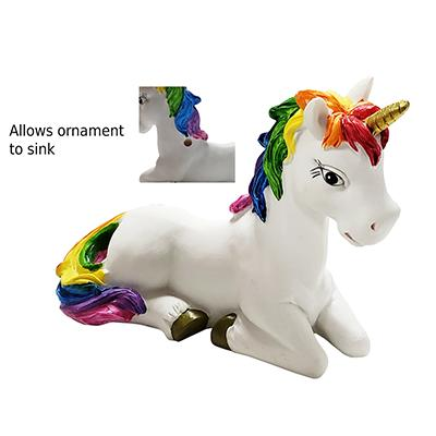 Sitting Rainbow Unicorn Aquarium Ornament Click for larger image